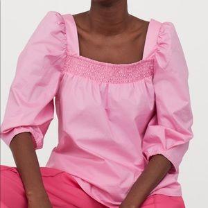 H&M Cotton Puff-sleeved Blouse sz L